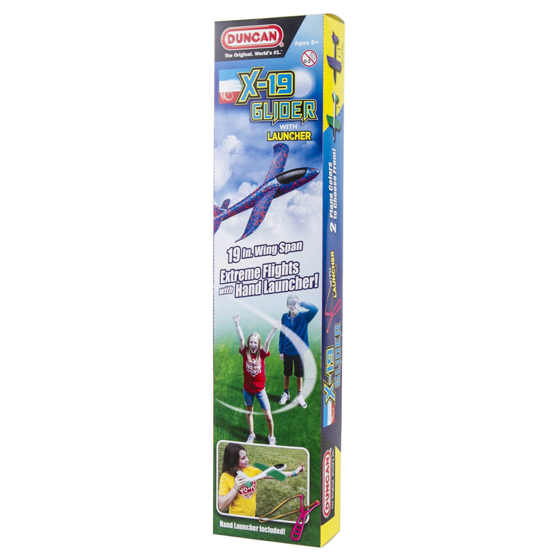 Front view of theDuncan X-19 Glider With Hand Launcher Activity Toy packaging.