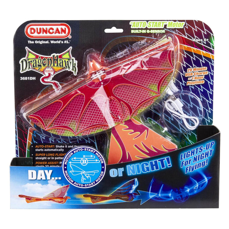 Front view of the Duncan Dragon Hawk Light-Up Bird Activity Toy packaging