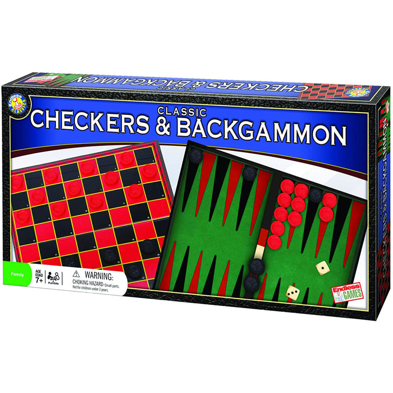 Endless Games Classic Checkers and Backgammon 2-In-1 Game