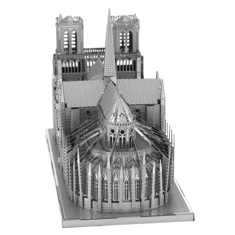 Front view of the Metal Earth Premium Iconx Notre Dame Cathedral Metal Model - 2 Sheets.