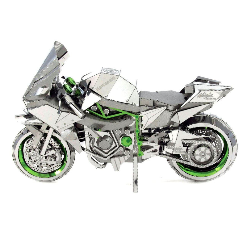 Side view of the Metal Earth Premium Iconx Kawasaki Ninja H2 R Motorcycle - 2.25 Sheets.