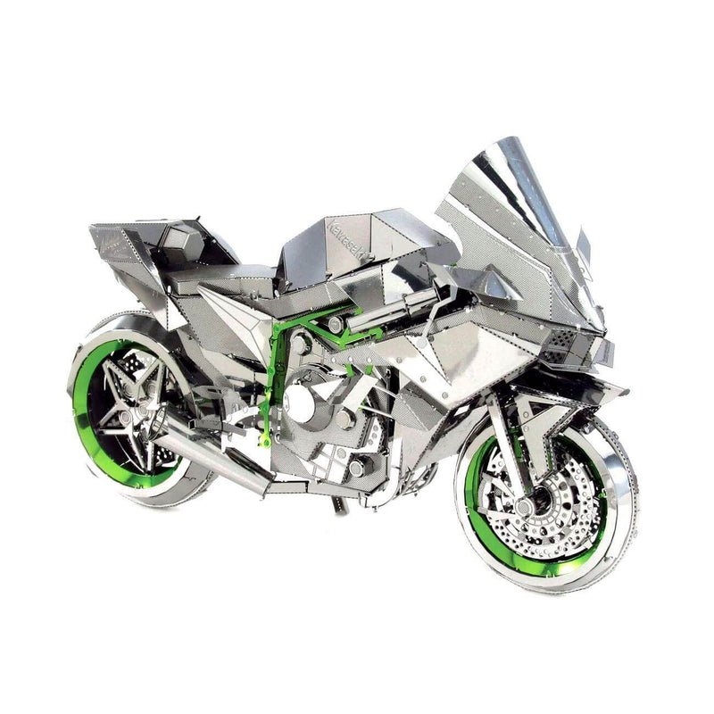 Side view of the metal motorcycle.