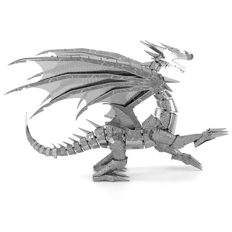 Side view of the metal dragon.