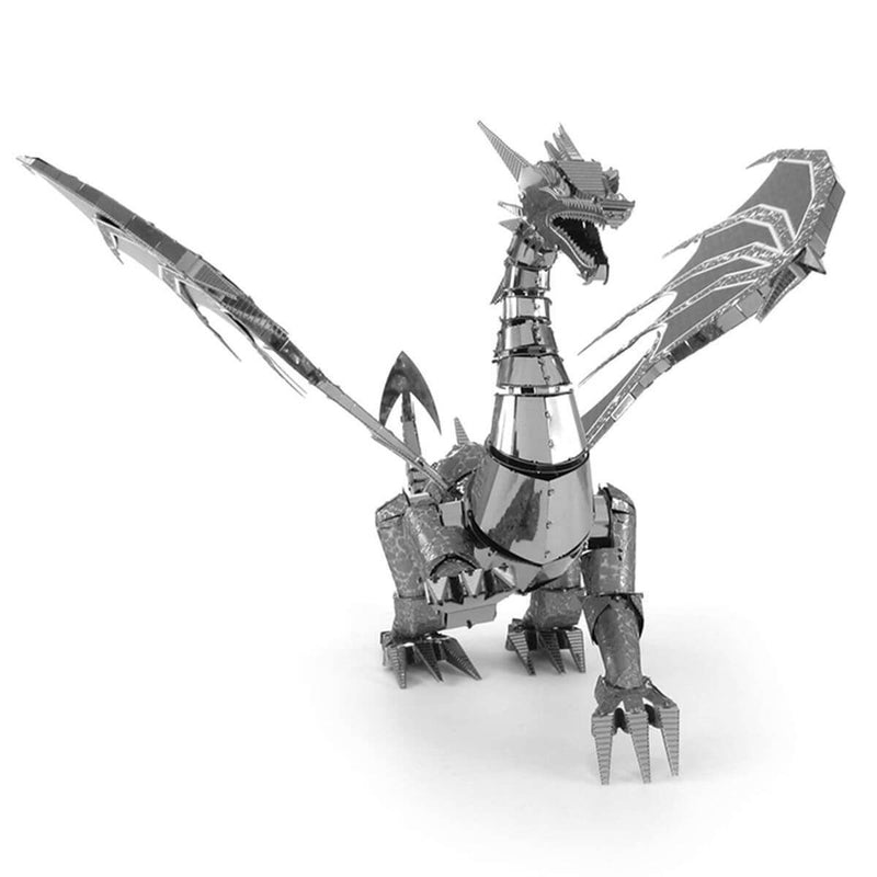 Front view of the Metal Earth Premium Iconx Silver Dragon Metal Model Kit - 3 Sheets.