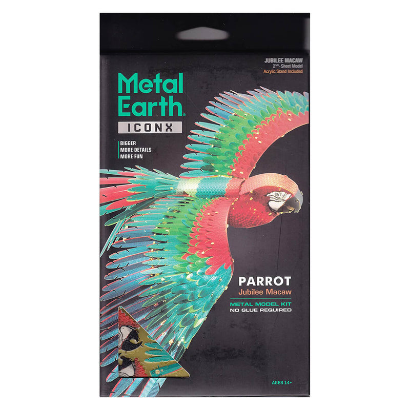 Front view of the Metal Earth Premium Iconx Parrot Metal Model Kit - 3.63 Sheets packaging.