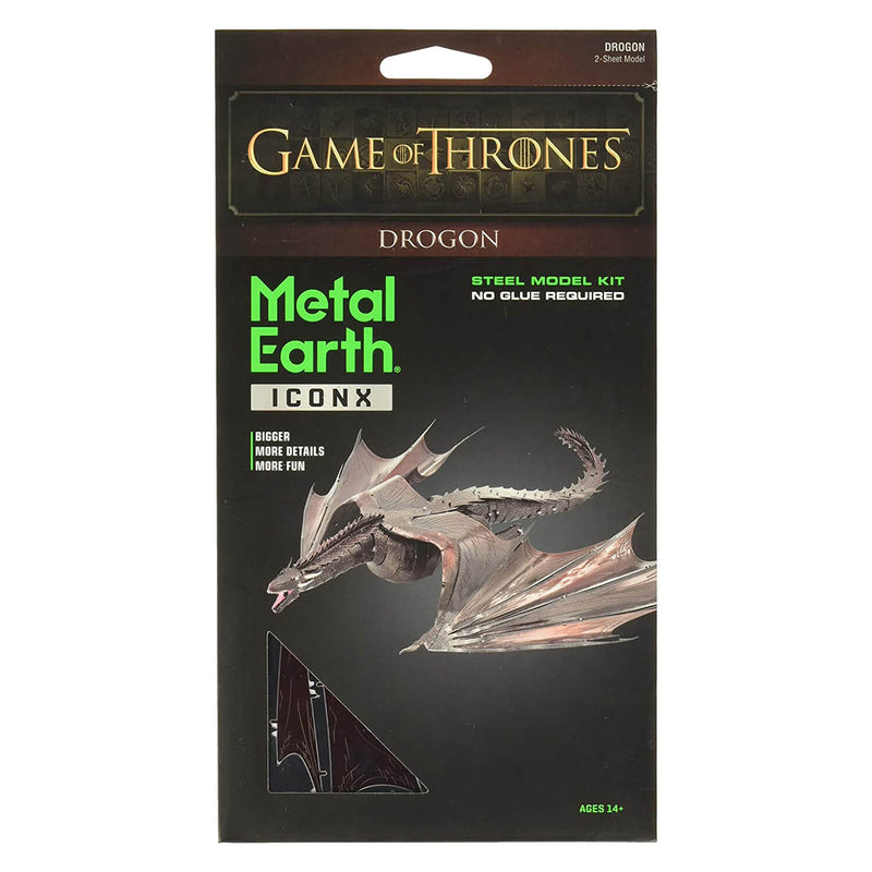 Front view of the Metal Earth Premium Iconx Game of Thrones Drogon 2 Sheet Model Kit packaging.