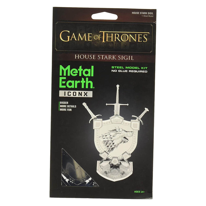 Front view of the Metal Earth Iconx Game of Thrones House Stark Sigil packaging.