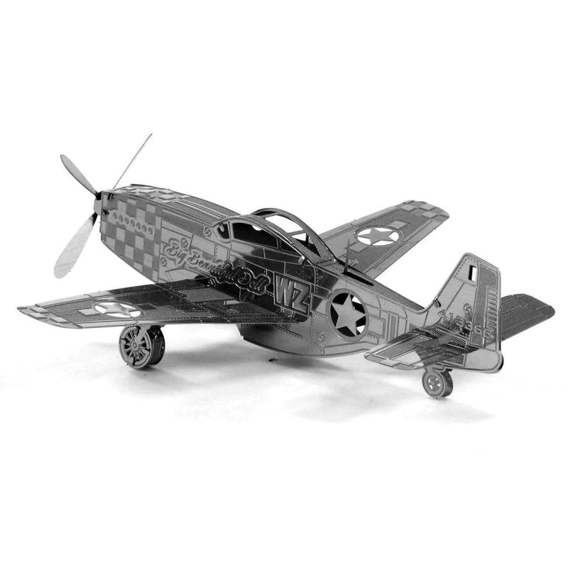 Side view of the Metal Earth Mustang P-51 Plane Metal Model Kit - 1 Sheet.