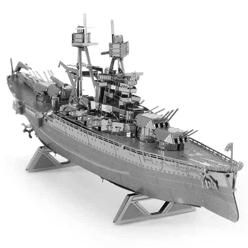 Back view of the meteal model ship.