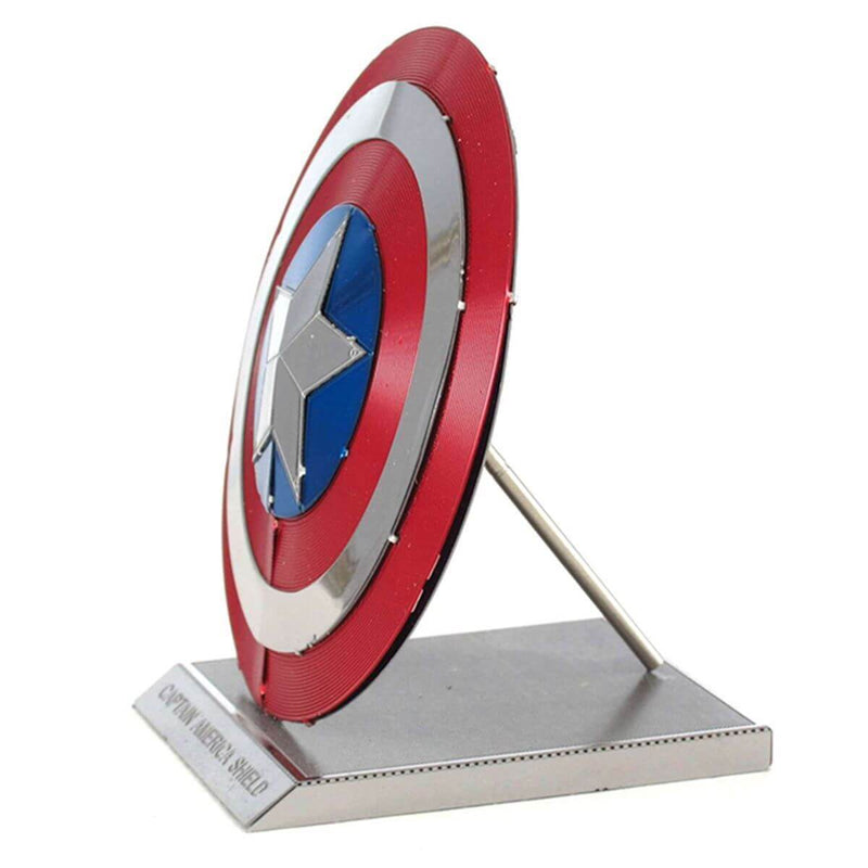 Side view of the Metal Earth Marvel Captain America's Shield Color Model Kit - 2 Sheets.