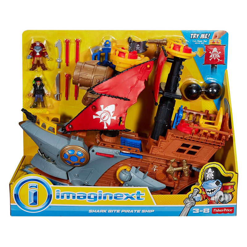 Front view of the Imaginext Pirate Shark Bite Ship package.