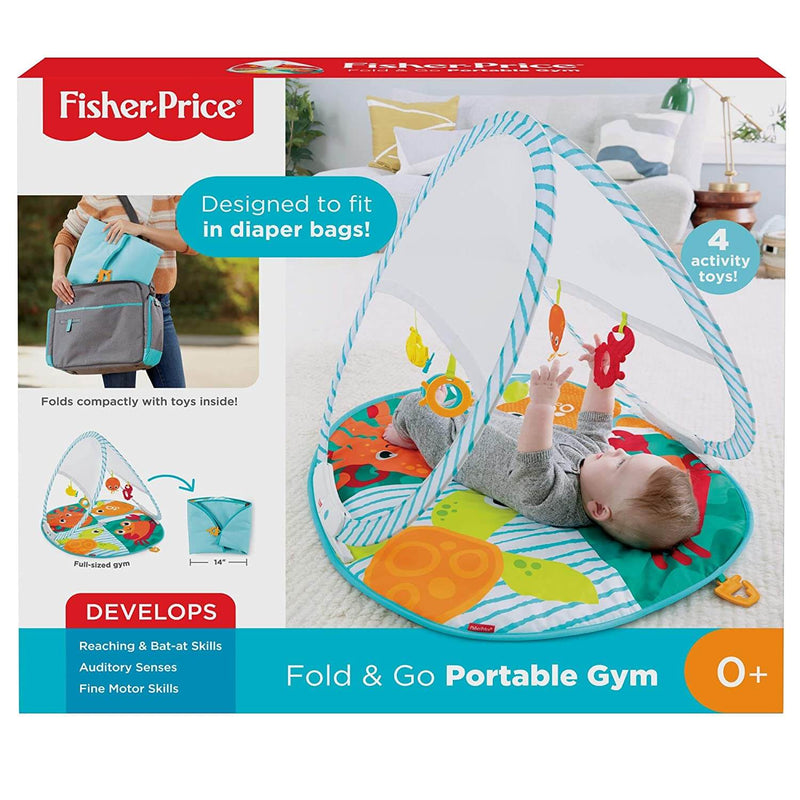 Front view of the Fisher-Price Fold and Go Portable Gym packaging.
