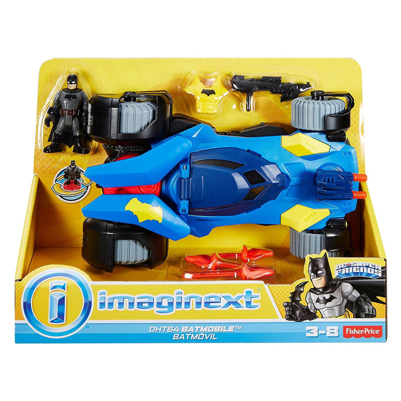 Front view of the Imaginext DC Super Friends Batmobile package.