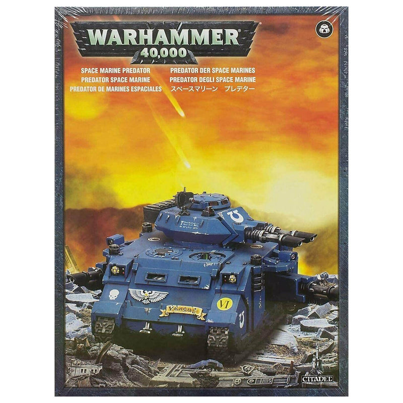 Front view of the Warhammer 40K Space Marine Predator package.