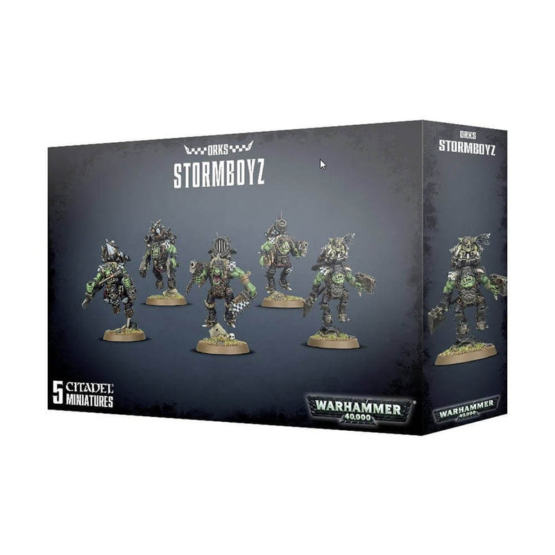 Front view of the Warhammer 40K Ork Stormboyz package.