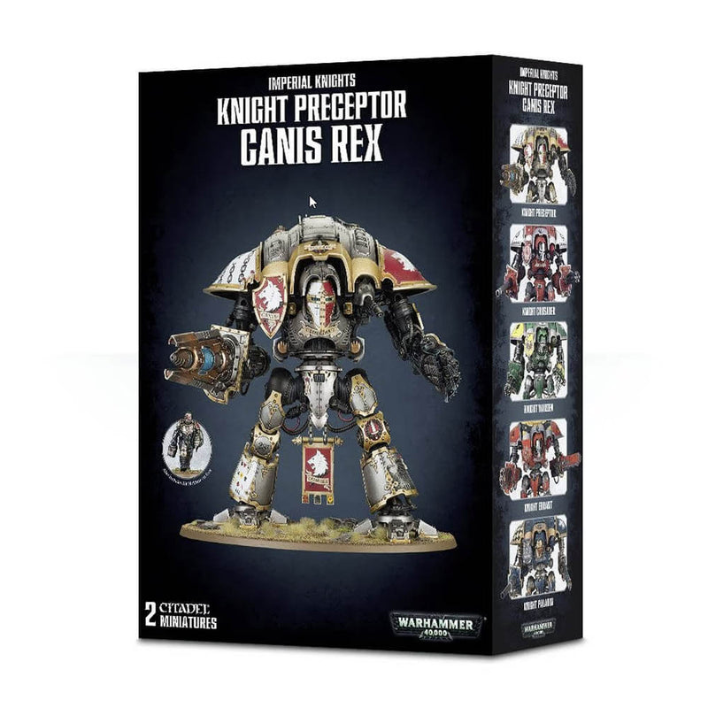Front view of the Warhammer 40K Knight Preceptor Canis Rex package.