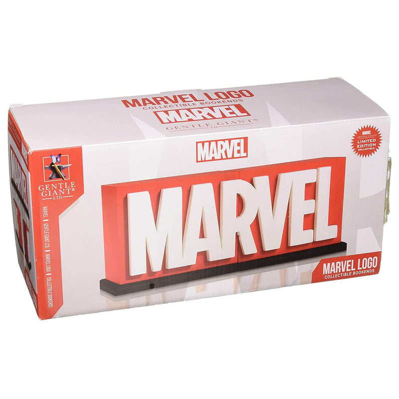 Front view of the Gentle Giant Marvel Logo Collectible Bookends Limited Edition package.