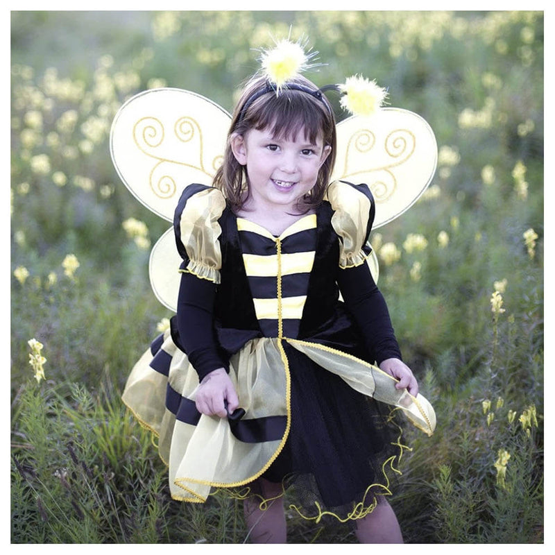Front view of little girl wearing the bumble bee costume.