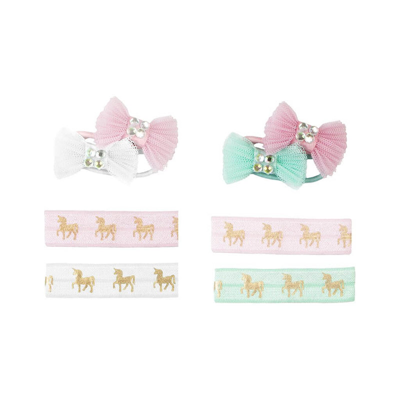 Front view of the Great Pretenders Unicorn Hair Ties & Bows 4 Piece Set.