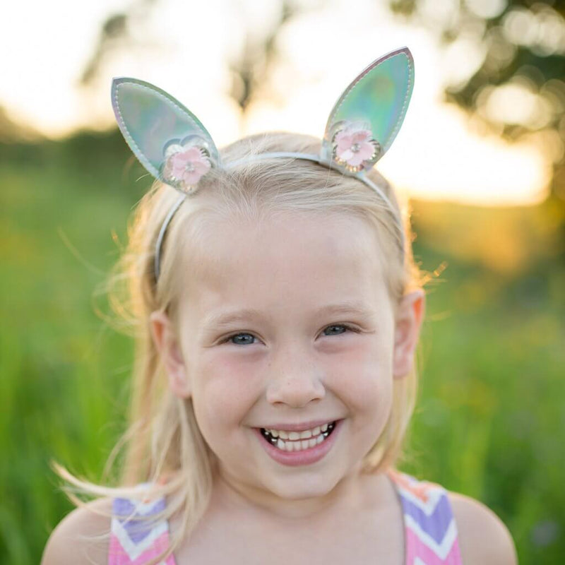 Front view of little girl wearing Great Pretenders Bunny Glamour Headband.
