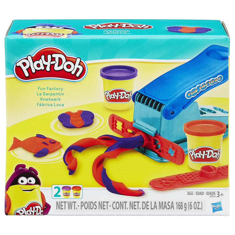 Front view of the Play-Doh Fun Factory package.