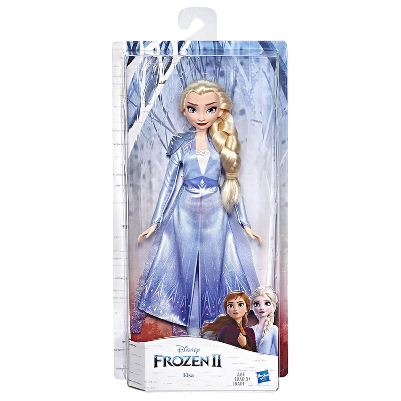 Front view of the Disney Frozen II Elsa Doll package.