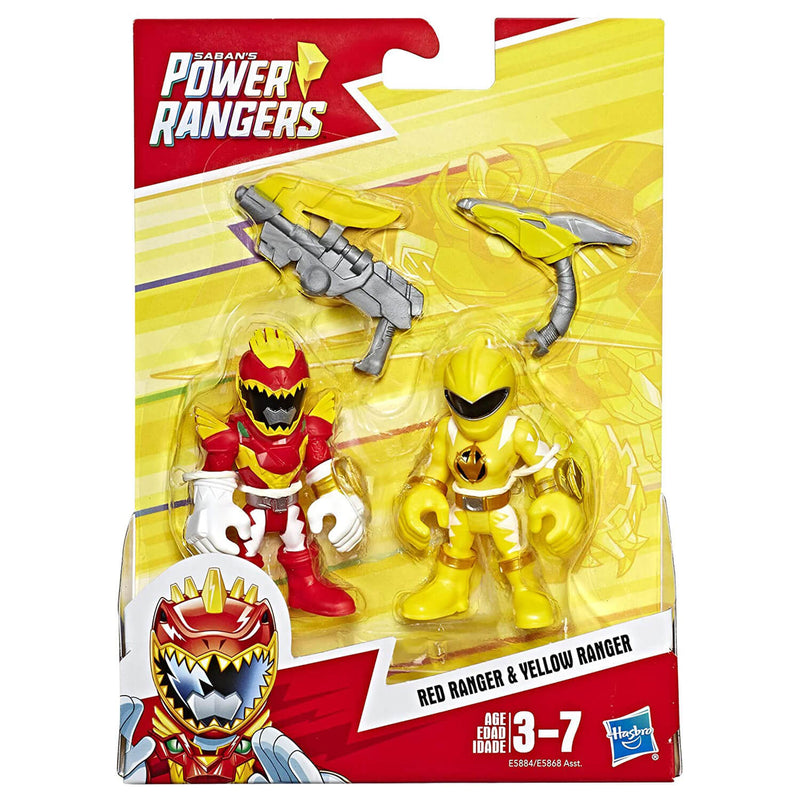 Front view of the Playskool Heroes Power Rangers Red Ranger & Yellow Ranger Figures package.