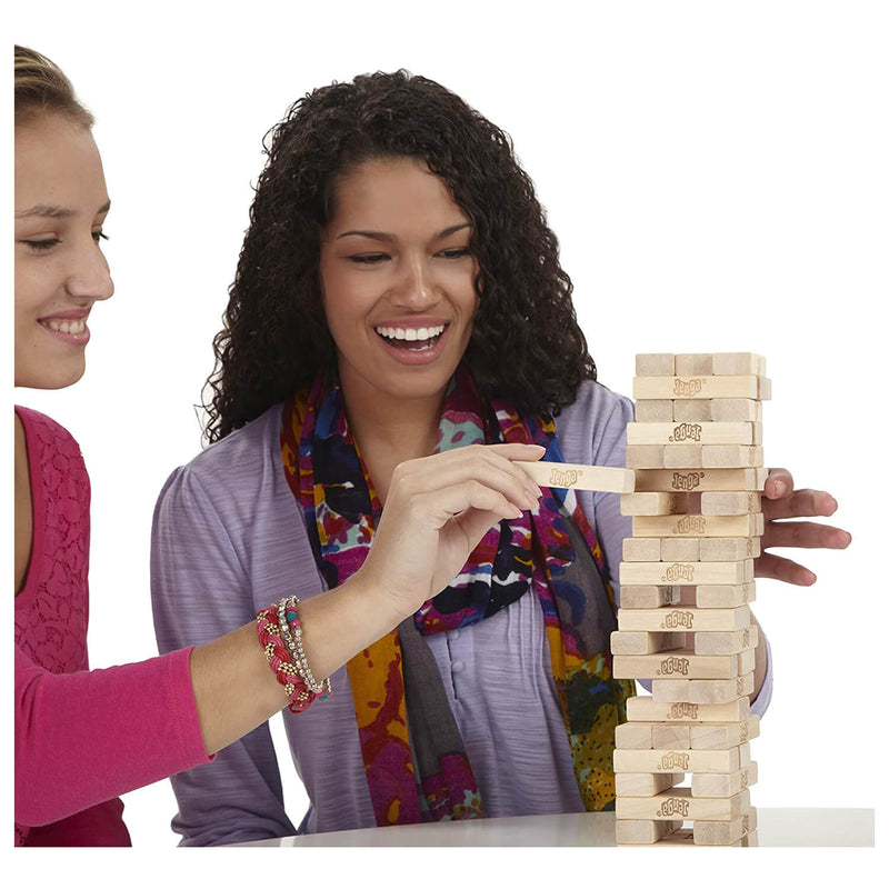 Kids playing jenga.