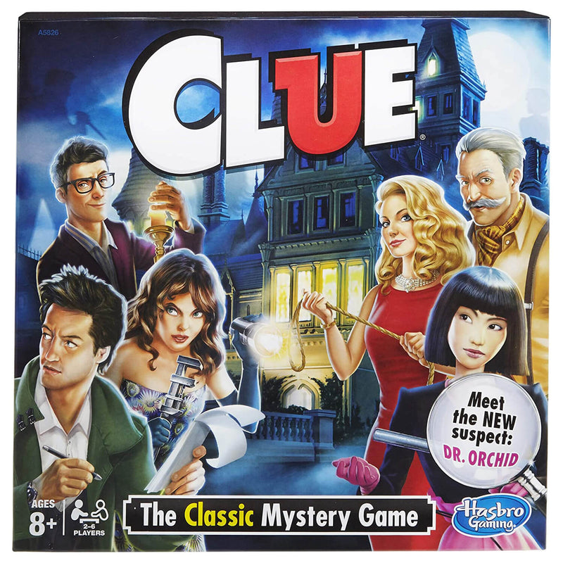 Front view of the Clue Game package.