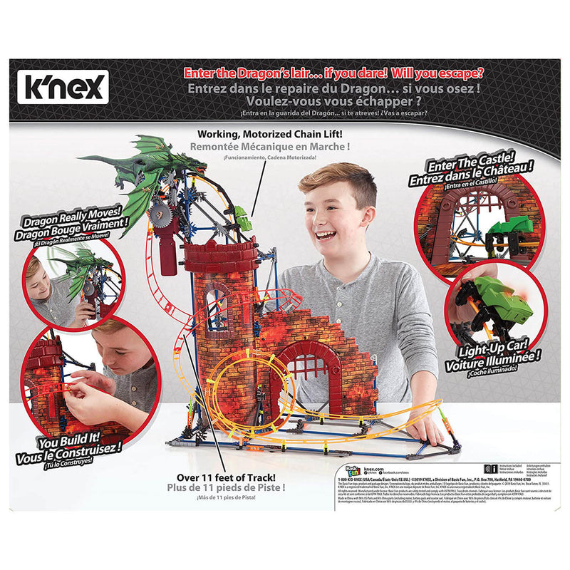 Back view of the K'nex Dragon Revenge Coaster package.