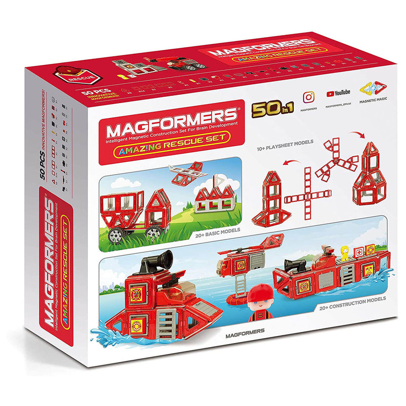 Front view of the Magformers Amazing Rescue 50 Piece Set package.