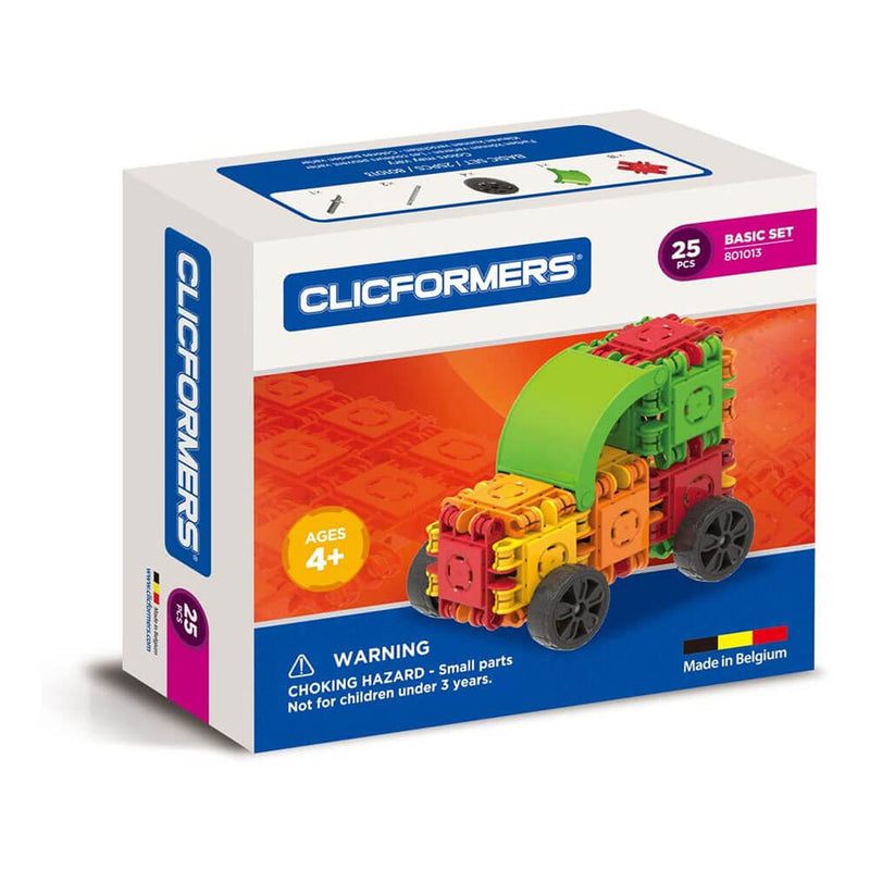 Front view of the Clickformers Transport Set - 25 Pieces package.