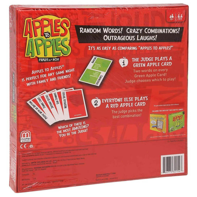 Back view of the Apples To Apples Party Box The Game of Crazy Combinations package.