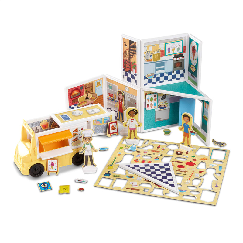 Melissa & Doug Magnetivity Pizza & Ice Cream Shop Magnetic Building Play Set
