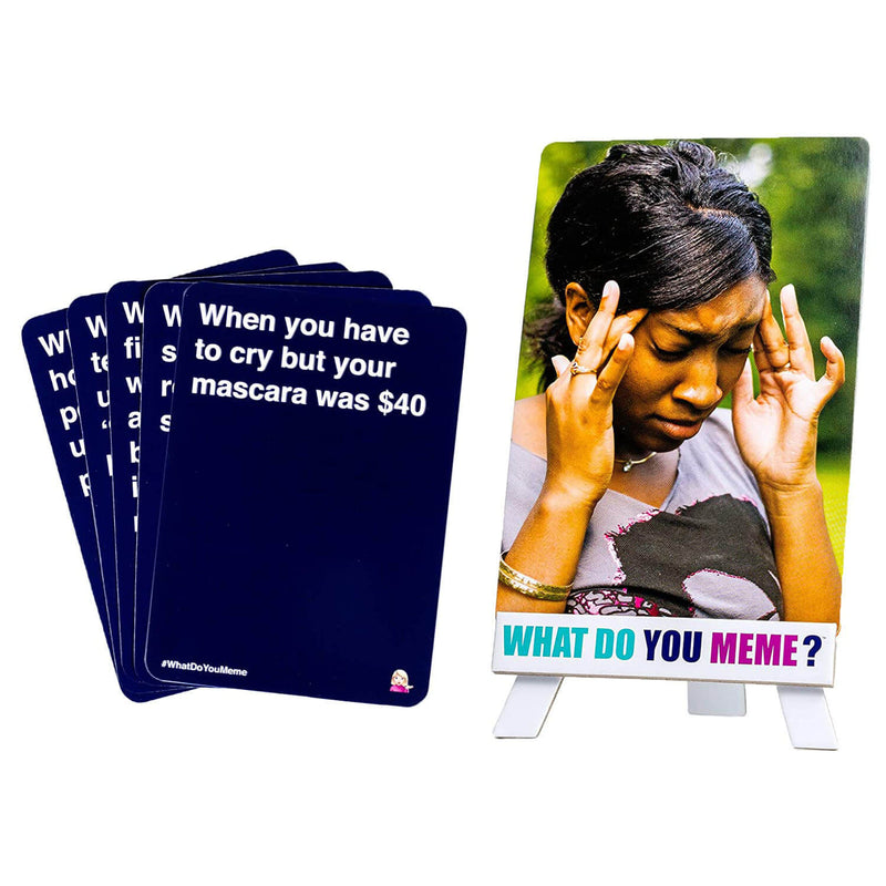 "What Do You Meme Basic Bitch Expansion cards show woman thinking and ""When you have you have to cry but your mascara was $40"""