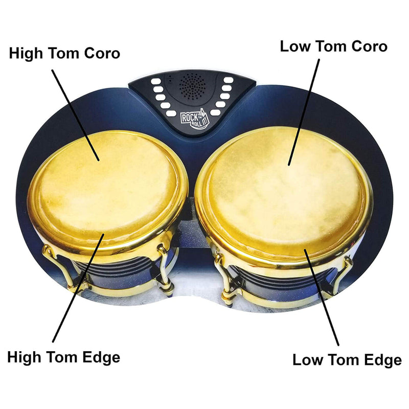 Front view of the rock and roll bongos.
