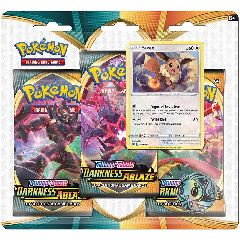 Pokemon TCG Sword & Shield Darkness Ablaze 3-Pack Eevee Blister