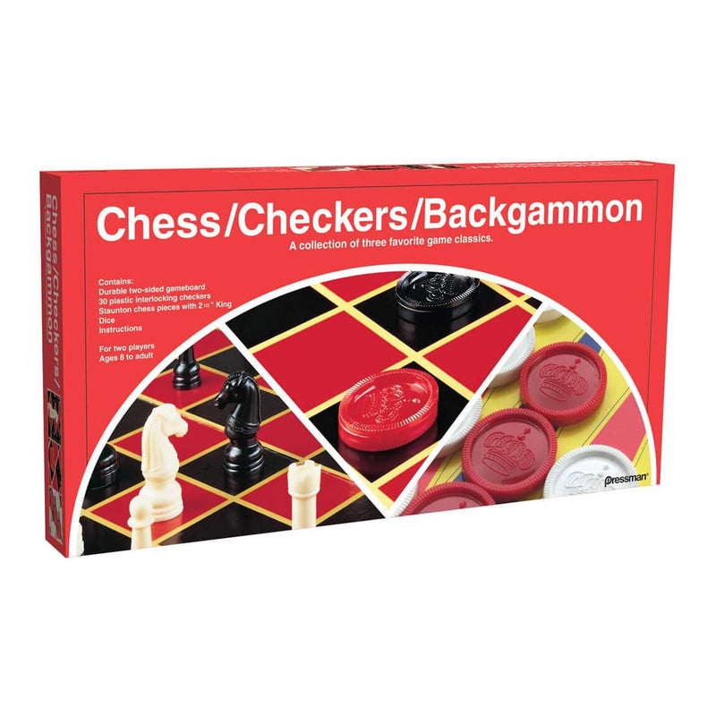 Pressman Checkers Chess Backgammon Combo Folding Board