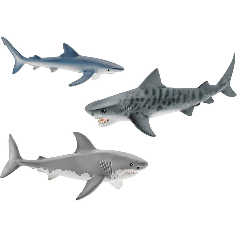 Schleich Wild Life Tiger Shark, Great White Shark, and Blue Shark Set