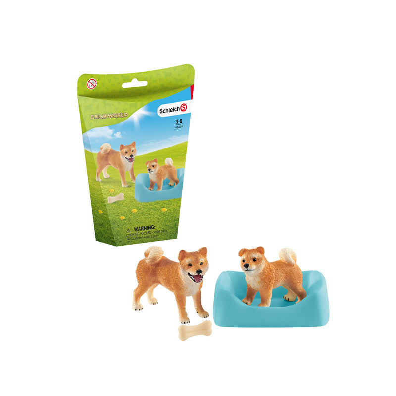 Schleich Farm World Shiba Inu Mother And Puppy Play Set