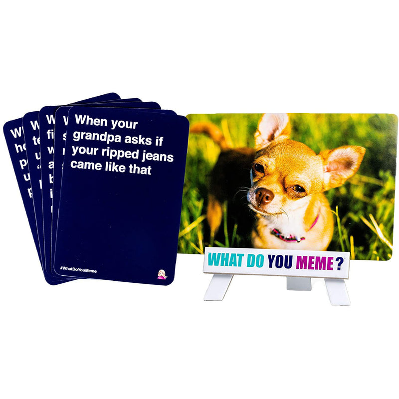 "Basic Bitch What Do You Meme Card showing a chihuahua and player cards say ""When your grandpa asks if your ripped jeans came like that"""