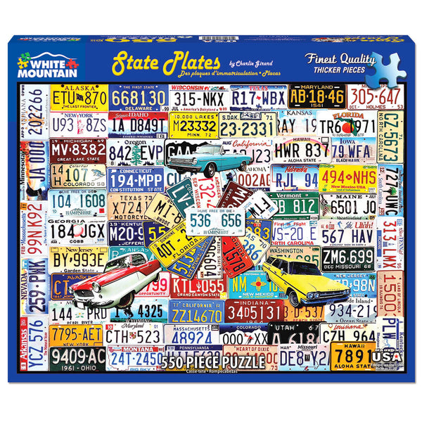 White Mountain Puzzles State Plates 550 Piece Jigsaw Puzzle