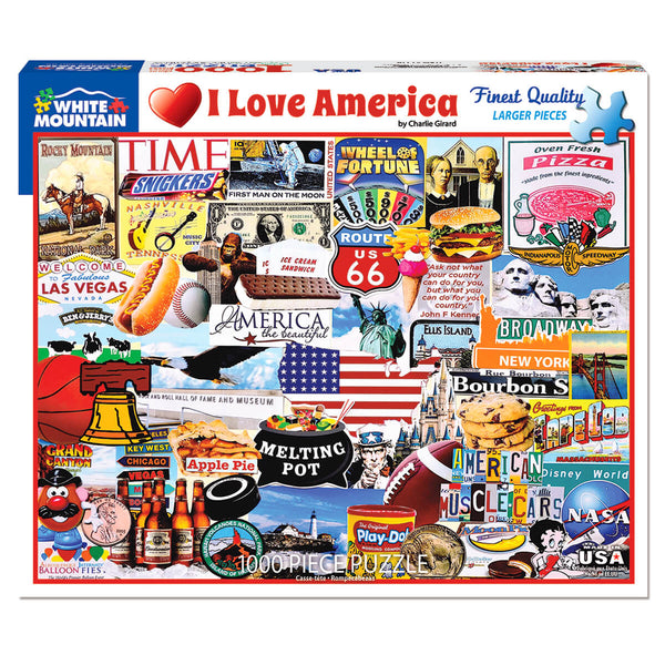 White Mountain Puzzles I Love America 1000 Piece Jigsaw Puzzle