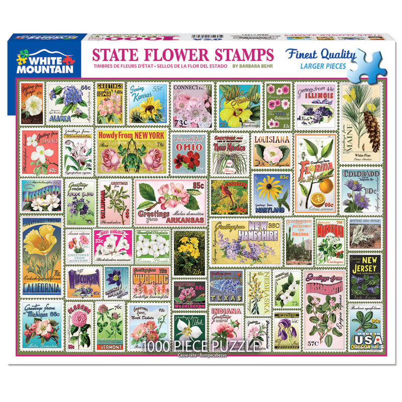 White Mountain Puzzles State Flower Stamps 1000 Piece Jigsaw Puzzle