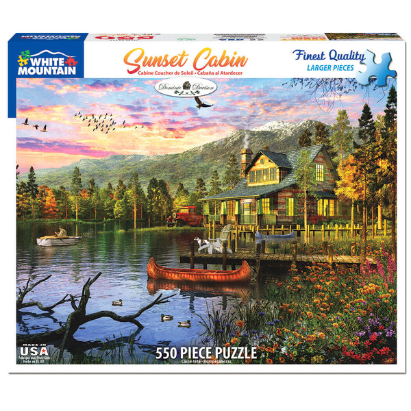 White Mountain Puzzles Sunset at the Lake 550 Piece Jigsaw Puzzle