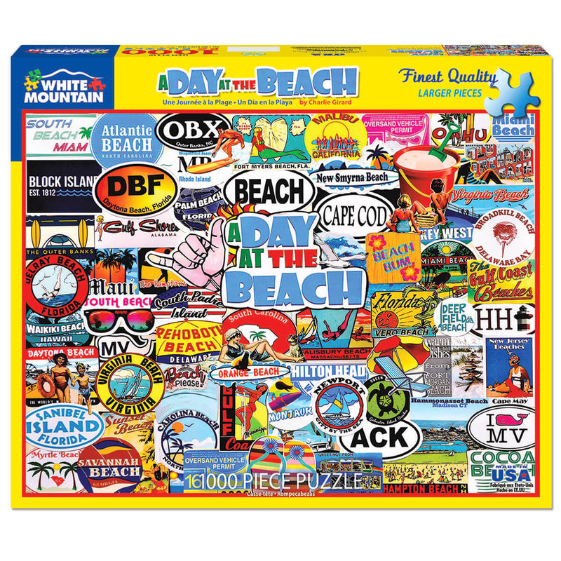White Mountain Puzzles A Day At The Beach 1000 Piece Jigsaw Puzzle