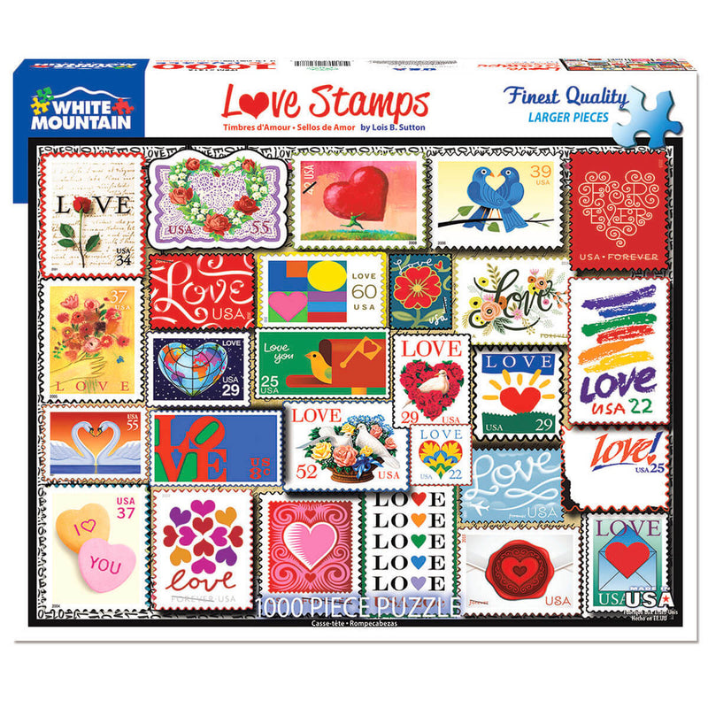 White Mountain Puzzles Love Stamps 1000 Piece Jigsaw Puzzle