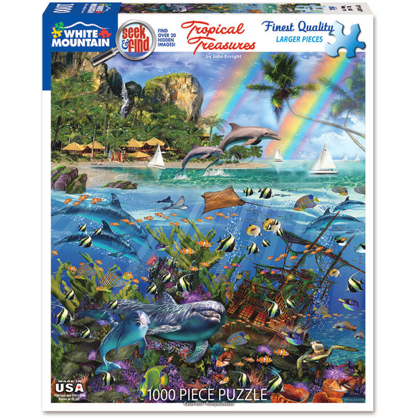 White Mountain Puzzles Tropical Treasures Seek & Find 1000 Pc Puzzle