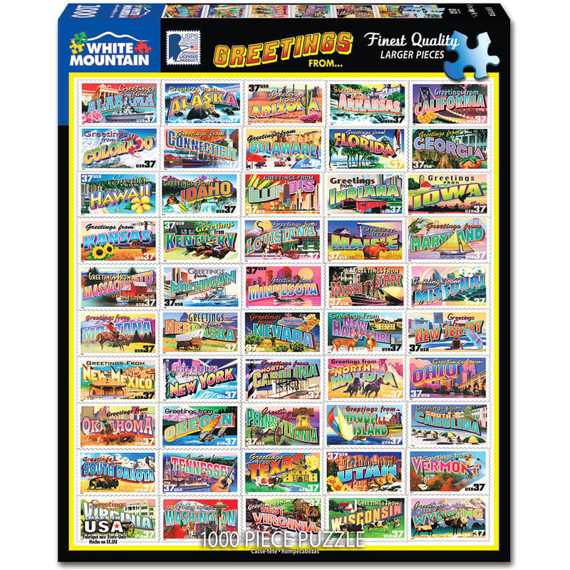 White Mountain Puzzles State Greetings Stamps 1000 Piece Jigsaw Puzzle
