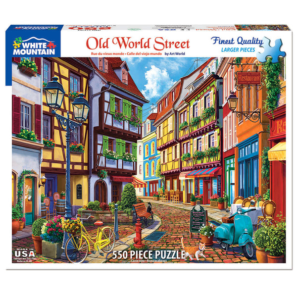White Mountain Puzzles Old World Street 550 Piece Jigsaw Puzzle